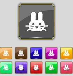 Rabbit icon sign Set with eleven colored buttons vector image