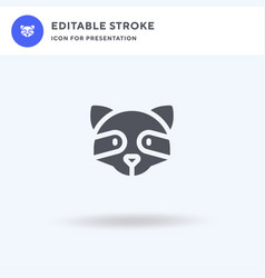 Raccoon icon filled flat sign solid vector