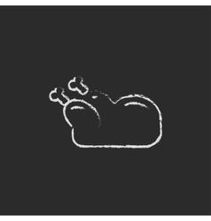 Raw chicken icon drawn in chalk vector