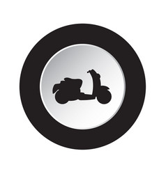 round black white button with scooter icon vector image