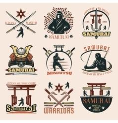 Samurai Colorful Emblems Set vector