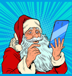 santa claus and a big smartphone electronic vector image