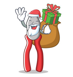 santa with gift pliers character cartoon style vector image