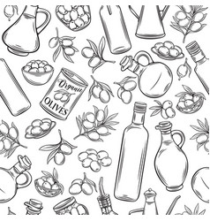Seamless pattern olive oil vector