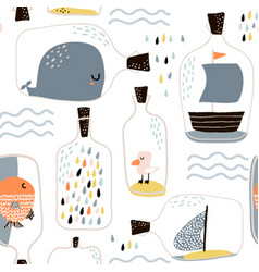 seamless pattern with hand drawn sea jar with vector image