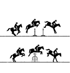 Sequences horse jumping over obstacles vector