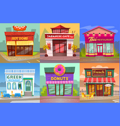 set cafe and restaurant view from street vector image