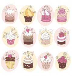 Set cute cupcakes vector