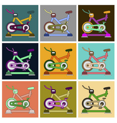 Set of icons in flat design bicycle exercise vector