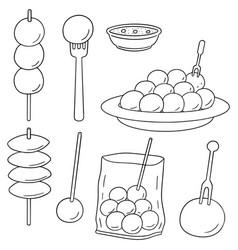 set of meatball vector image
