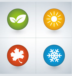 Set of season icons in green yellow red and blue vector
