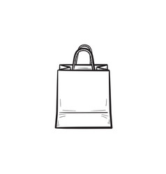 shopping bag hand drawn outline doodle icon vector image