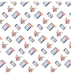 shopping icons seamless pattern online mobile vector image
