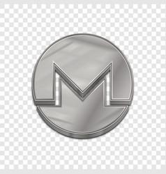 silver monero coin trendy 3d style icon vector image