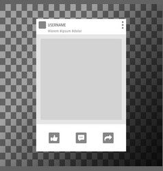 Social network photo frame template vector