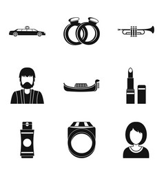 solemnization icons set simple style vector image