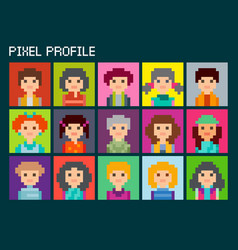 Square pixel avatars set vector