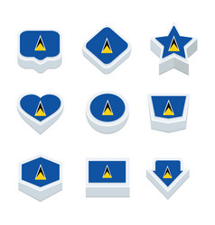 St lucia flags icons and button set nine styles vector