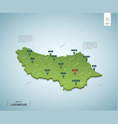 Stylized map luxembourg isometric 3d green map vector