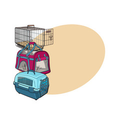Three type of pet carrier transport bag plastic vector
