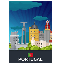 Travel poster to portugal flat vector
