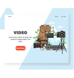 videography website landing page design vector image