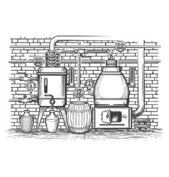 vintage distillation equipment vector image