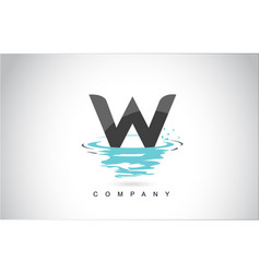 w letter logo design with water splash ripples vector image