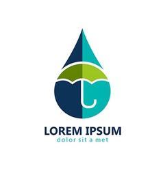 Water drop protection umbrella logo vector