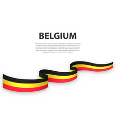 Waving ribbon or banner with flag belgium vector