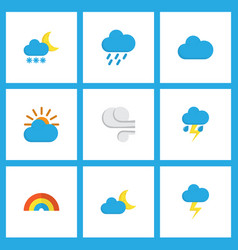Weather icons flat style set with outbreak frost vector