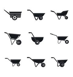 wheelbarrow garden plant icons set simple style vector image