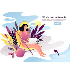 woman or female doing remote work on beach vector image