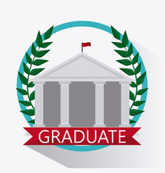 Wreath building university icon graphic vector