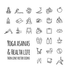 yoga asanas health life icons set vector image
