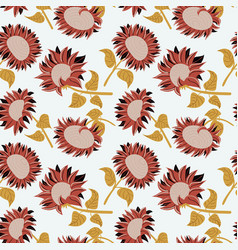 Decorative beauty sunflowers seamless pattern vector