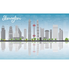 Shanghai skyline with blue sky grey skyscrapers vector image