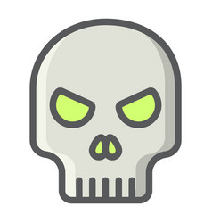 skull filled outline icon halloween and scary vector image