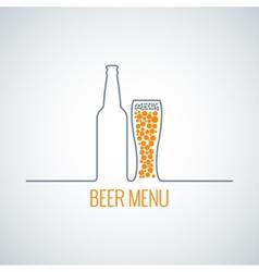 beer bottle glass menu background vector image vector image
