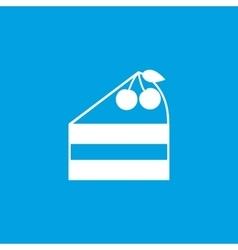 Cake piece icon white vector image
