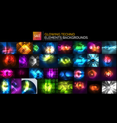 neon glowing light abstract backgrounds collection vector image