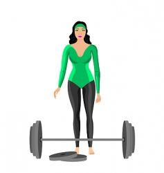 sportswomen with dumbbell vector image