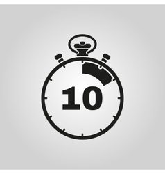 The 10 seconds minutes stopwatch icon Clock and vector image
