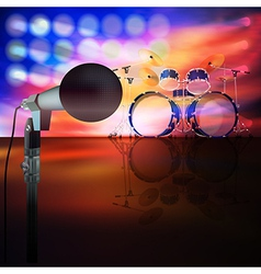 abstract music background with drum kit and vector image