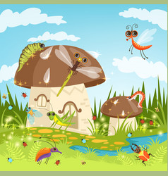 fairytale landscape with funny insects vector image