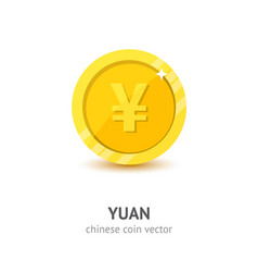 gold chinese yuan coin flat style vector image