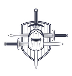 medieval helmet swords and shield vector image