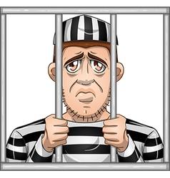 Sad Prisoner Behind Bars vector image