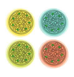 Set of 4 doodle isolated pizzas with different vector image