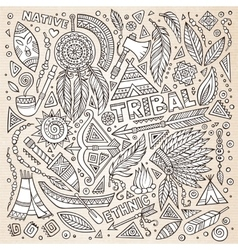 Tribal native american sketch set of symbols vector